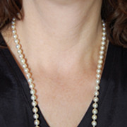 Long White PEARL NECKLACE - Fine, Lustrous, 34 1/2""