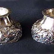 RARE Antique DANISH SOLID SILVER -c1800, Trencher Salt Cellars (Pair)