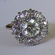 fine antique DIAMOND CLUSTER RING - Old European Cut Stones