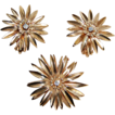 c1940, flower PIN & EARRING SET - 14K Gold & Diamonds