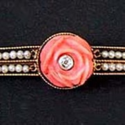 Pretty Antique CORAL BROOCH - 14k Gold, Seed Pearls, Diamonds, Coral Roses