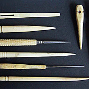 Antique Ivory SEWING ITEMS (set of 8) - Victorian Period