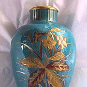 Antique CROWN DERBY VASE - Mint Condition, BLUE w/encrusted Botanical Motifs, c1900