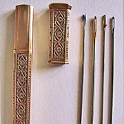 SALE PENDING c1790, Antique GOLD NEEDLE CASE, French  (Antique Sewing Item - Etui)