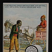 Black Americana ADVERTISING CARD - Clark's Mile End Spool Cotton