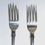 Antique RUSSIAN SILVER FORKS -c1889, Fiddleback / Pinched Waist