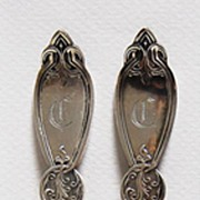 Pair c1860 - antique Coin Silver NUT PICKS - c1860, Very Heavy