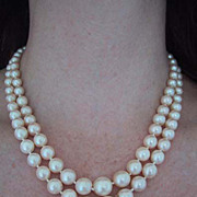 c1920, Cultured PEARL NECKLACE - Double Strand, Very Fine