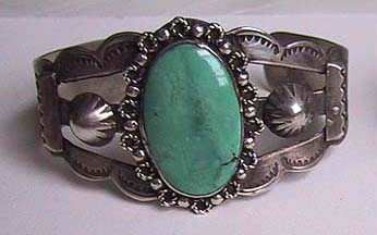 OLD Native American INDIAN CUFF BRACELET (Turquoise & Sterling)