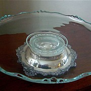 SALE Imperial Glass Footed Silver Plate Lazy Susan c 1939