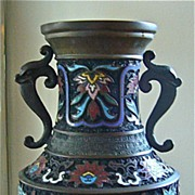 REDUCED Bronze Champleve Vase, Japan, c1915