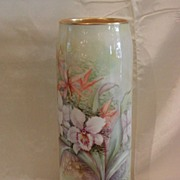 SALE Lenox Belleek Hand Painted Orchids & Lilies Tall Porcelain Vase