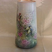 SALE Lenox Belleek Hand Painted Porcelain Vase Flowers & Birds