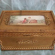 SALE Victorian French Dore Bronze Hand Painted Music Box
