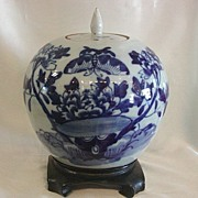 Antique Chinese Large Blue & White Covered Jar Butterfly & Peonies