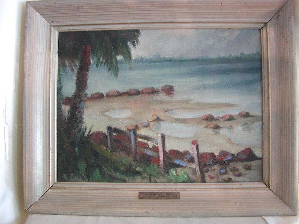 Old Sarasota Bay Florida Oil on Board Palm Tree Beach Scene