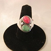 SALE Vintage Native American Sterling Coral & Turquoise Ring