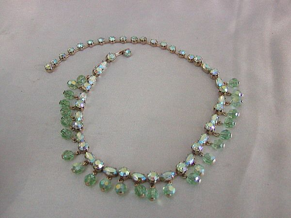 Flirty Fenichel Peridot Green Rhinestone & Crystal Necklace