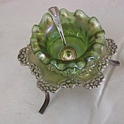 Superb Loetz Art Glass Ruffled Open Salt w/Silverplate Stand