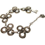 SALE Superb Edwardian Era Wide .800 Silver European Filigree Bracelet