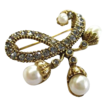 Elegant Gold Plated Faux Pearl Smokey Pewter Rhinestone Brooch and Earring Demi Parure