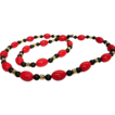 1960s Striking Red and Black Beaded Necklace with Gold Tone Accents