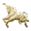 Large Gold Tone Circus Horse Brooch with Rhinestone Accents Signed AJC