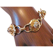 Exceptional Coro Gold Tone Rose Link Bracelet