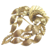 Lisner Brooch and Earrings Set in Gorgeous Gold Tone Leaves