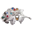 Little Nemo Filigree Silver Tone and Rhinestone Brooch