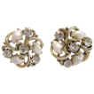 1940s Lisner Faux Baby Tooth Pearl and Rhinestone Earrings