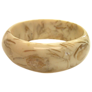 SALE Wide Creamy Faux Marble Lucite Bangle Bracelet