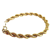 SALE 1960s Classic Napier Gold Tone Rope Bracelet