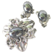 Large 1930-40 Silver Tone and Faux Hematite Brooch and Earring Set