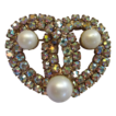 1950s Aurora Borealis Heart Brooch with Faux Pearls