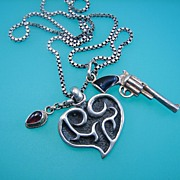 Shot through the Heart Amulet Charm Necklace - OOAK and Limited Edition Postcard