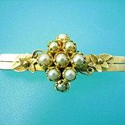 9k Gold Victorian Grapes Pearl Bar Pin