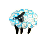 SALE On a Cloud Counting Sheep Pin - Vintage Enamel on Sterling