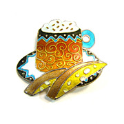Cappuccino Coffee and Biscotti Pin - Vintage Enamel on Sterling