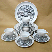 Black Wrought Iron Design Esperanza 21 piece set by Noritake -Vintage Steampunk Gothic