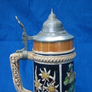 Smoking at the Bar Edelweiss German Lustre Beer Stein - Vintage