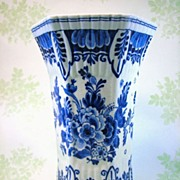 Vintage Blue Royal Delft Scalloped Vase - Forties