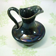 SALE Milk Pitcher Green Opalescent Glaze circa1920