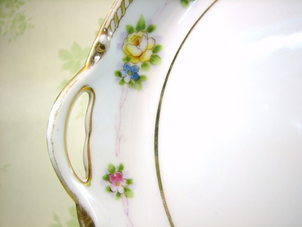 Yellow Rose and Forget me nots  Nippon Floral Dish w/Handles