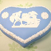 Jasper ware Angel on the Chariot Heart Box - Vintage Wedgwood