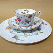 Bird of Paradise Cup Saucer and Dessert by Crown Staffordshire Vintage