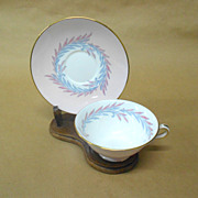 SALE Malta Pink and Gray Cup with Saucer by Minton