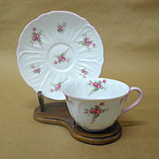 Bridal Rose Oleander Cup with Saucer by Shelley -Vintage