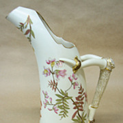 1887 Royal Worcester 10&quot; Tusk Shaped Ewer Pitcher hand-painted porcelain Vintage