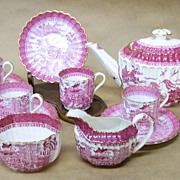 Pink Willow Copeland Spode England Demitasse Set Teapot Creamer Sugar Cups and Saucers